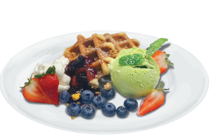 Waffle (Green tea ice Cream )  Blueberry Cream Cheese - delivery menu