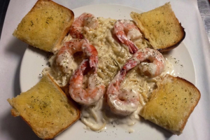 Fettuccini Alfredo with Jumbo Shrimp - delivery menu