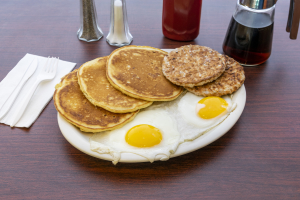 Pancakes and Eggs with choice of meat - delivery menu
