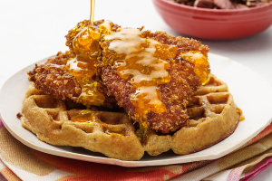 Belgian Waffles with Chicken Breakfast - delivery menu