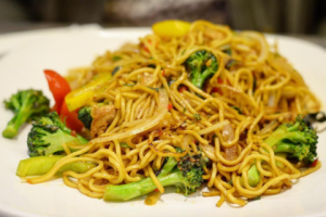 Spicy Yaki Soba with Soy Fish - delivery menu