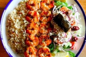 Shrimp Souvlaki Platter - delivery menu