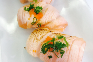 Seared Salmon Topped Scallions - delivery menu