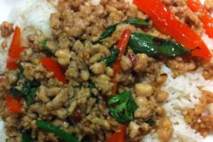 40. Pad Ka Paow Over Rice - delivery menu