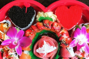 Adonis & Aphrodite Heart Tray  (13 inch heart-shaped box) - delivery menu