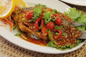 H16. Fried Tilapia with Chili Sauce - delivery menu