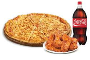 Combo Lg. Pie, 10 Chicken Wings, 2 liter soda - delivery menu