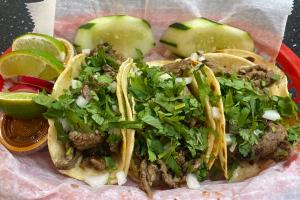 3 Carne Asada Tacos (beef) - delivery menu