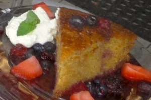 Spanish Olive-Oil Cake with Pomegranate Sauce - delivery menu