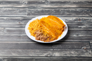 6. Three Enchiladas, Rice and Beans - delivery menu
