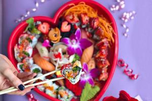 Cupid Maki Heart Tray  (9 inch heart-shaped box) - delivery menu