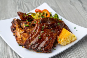 1/2 Rack of BBQ Ribs and 1/4 Brasa Chicken Meal - delivery menu