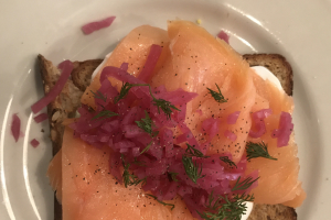 Smoked Salmon Toast  w/ Hardboiled Egg - delivery menu