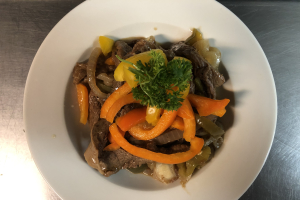 Pepper Steak w/ yellow or white rice - delivery menu