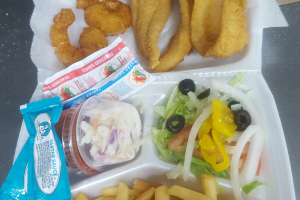 3 Piece Fish and and 3 Large Shrimp Combo - delivery menu