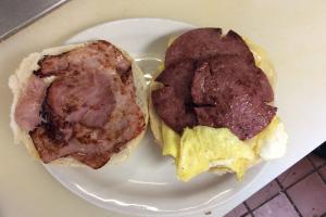Egg,Salami, ham on roll - delivery menu