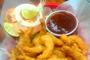 Fried shrimp w/ fries and can pepsi - delivery menu