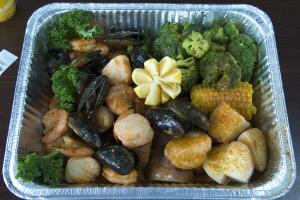 28. 1 lb. Snow Crab, 1 lb. Large Shrimp and 2 Medium Tails Combo - delivery menu