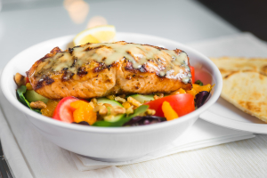 L11 - Aegean Salad topped with Charbroiled Fresh Salmon - delivery menu