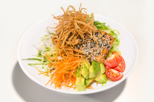Teriyaki Salmon Salad - delivery menu