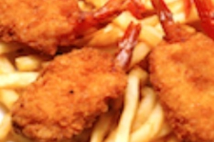 78. 6 Pieces Jumbo Shrimp with Fries and Can Soda - delivery menu