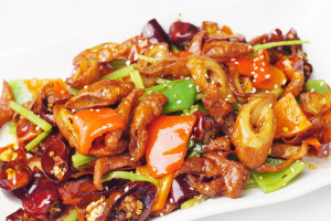 Stir Fried Intestines with Chili and Snake Beans - delivery menu
