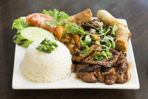 1C. Grilled Beef, Pork, Chicken, Shrimp and Egg Roll Combination Plate - delivery menu