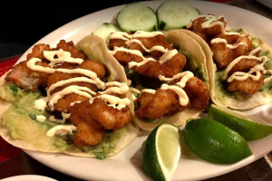 Breaded tiger shrimp tacos - delivery menu