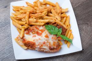 Chicken Parmigiana with Penne ala Vodka - delivery menu