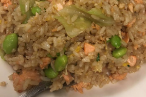 Salmon and Soy Bean Pods Fried Rice - delivery menu