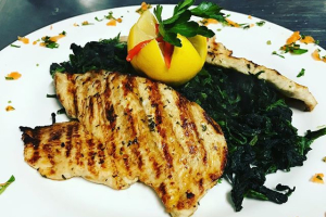 Marinated Grilled Chicken Over Steamed Spinach - delivery menu