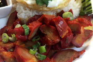F7. Kao Moo Dang with Fried Egg - delivery menu