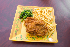 Honey fried chicken with french fries - delivery menu