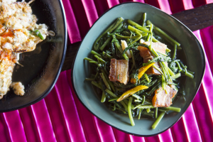 Pak Boong Fai Daeng with Crispy Pork - delivery menu