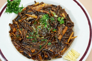 98. Stri Fried Eel Wire with Black Pepper in Brown Sauce - delivery menu