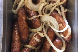 Irish sausage with Mash & Onions - delivery menu