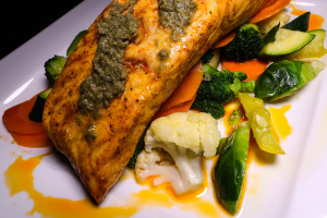Roasted Salmon w/ caper Sauce - delivery menu
