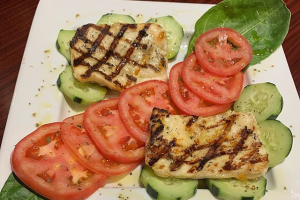 Grilled Haloumi with cucumbers and tomatoes - delivery menu