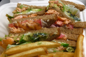 Salmon Club on Wheat Toast  - delivery menu