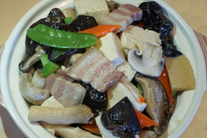 55. Bean Curd and Mushrooms with Salted Pork - delivery menu