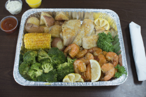 22. 1/2 lb. Shrimp and 1/2 lb. Fish Combo Platter - delivery menu