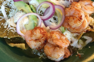 Grilled Cajun Shrimp Chilaquiles - delivery menu