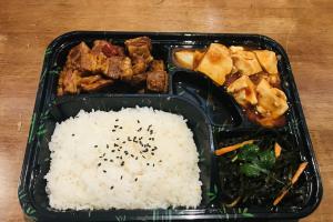 F. Braised Beef + Ma Po Toufu + Seaweed Salad - delivery menu
