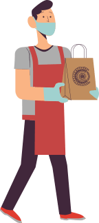 Persona entregando comida