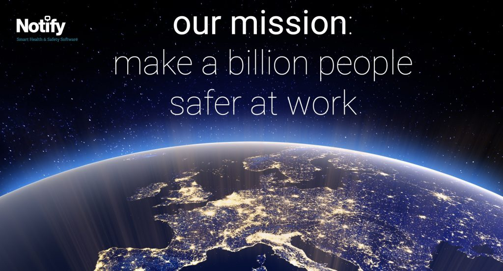 Notify Technology mission statement over an image of the earth.