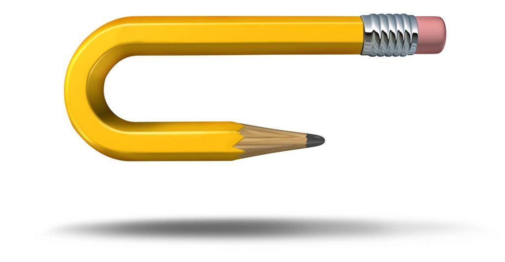 yellow pencil bent backwards to emphasis how assuming that OKRs are set in stone was an error made duriing the process of adopting OKRs