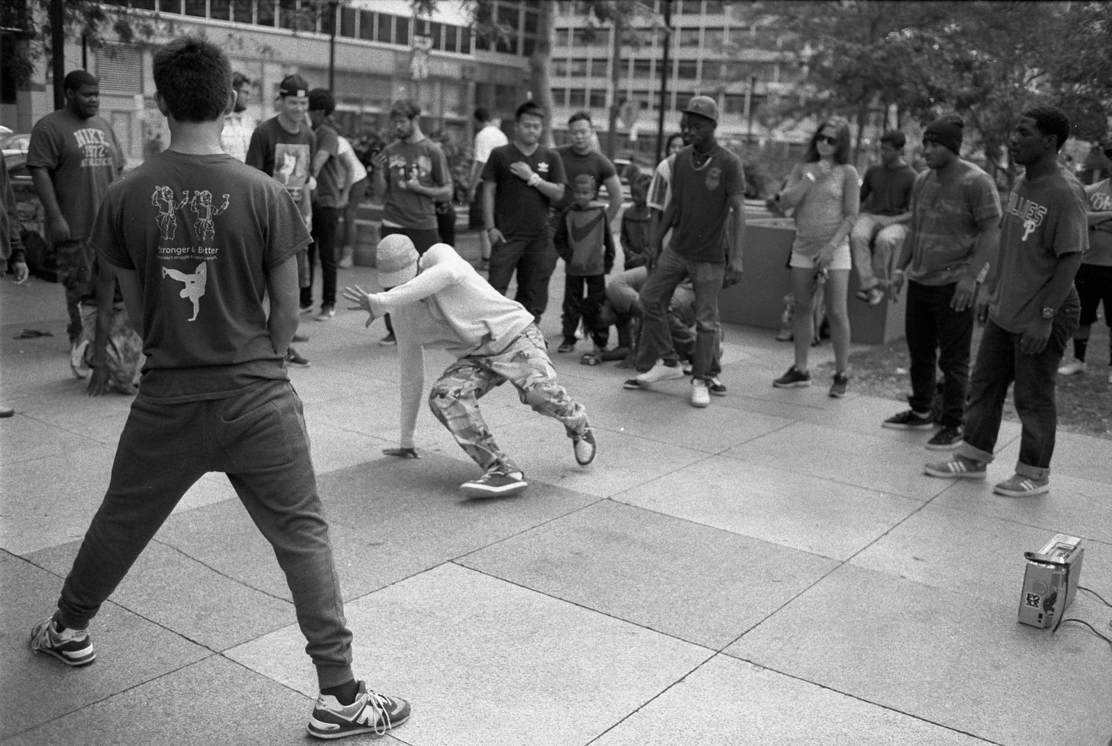 A group of teenagers doing hip-hop dance at Philly Love Park