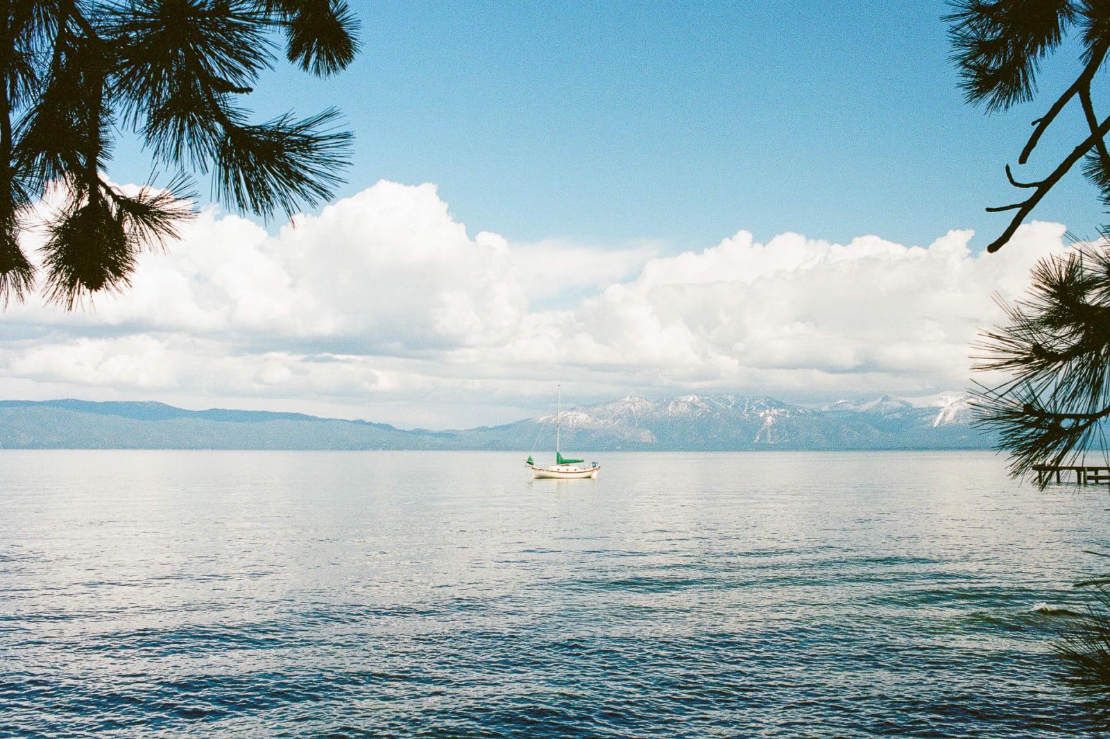 Boat on Lake Tahoe. Photo taken before thunderstorm. Summer, 2019.