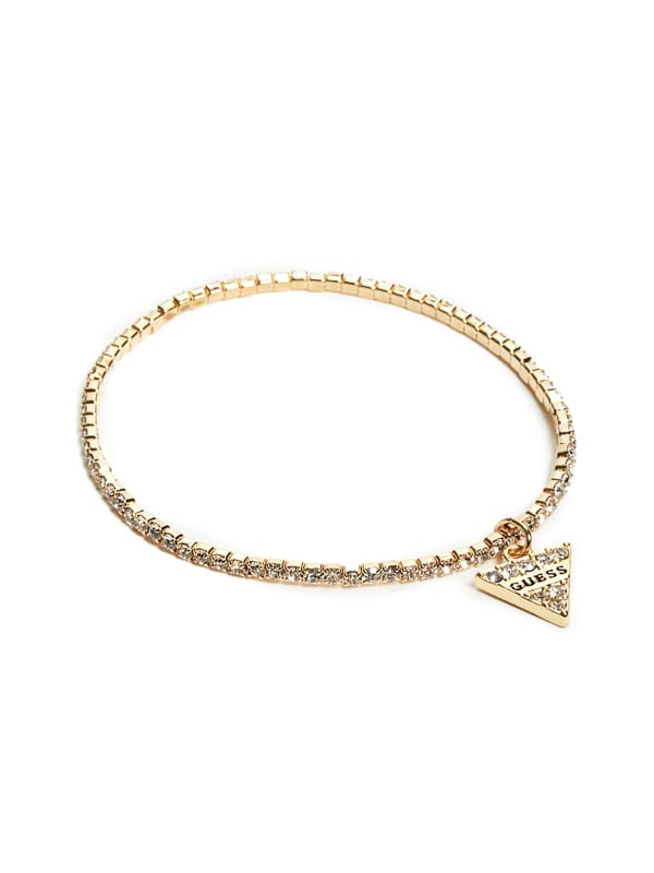 Gold-Tone Rhinestone Triangle Stretch Bracelet