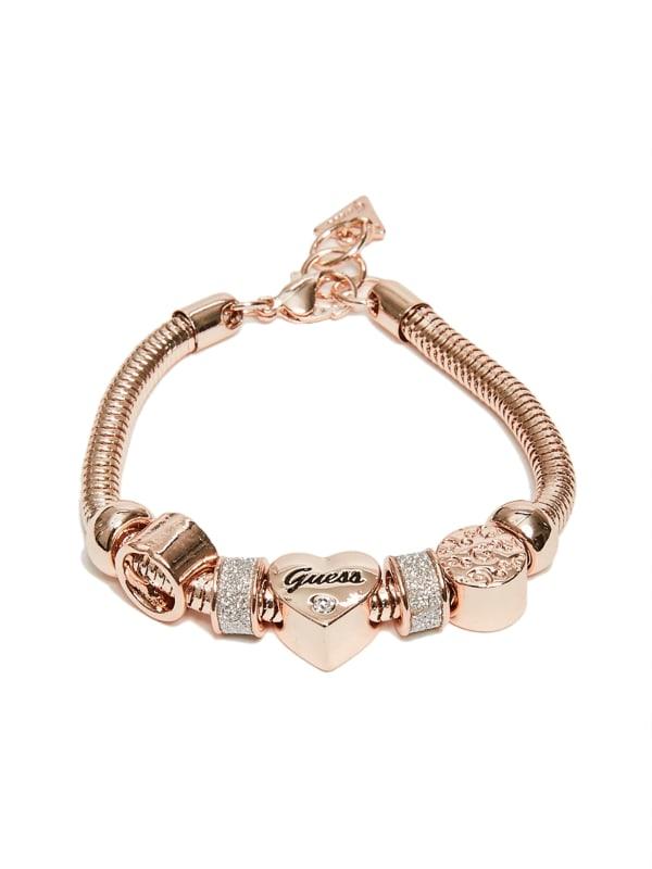 Rose Gold-Tone Heart Rope Bracelet